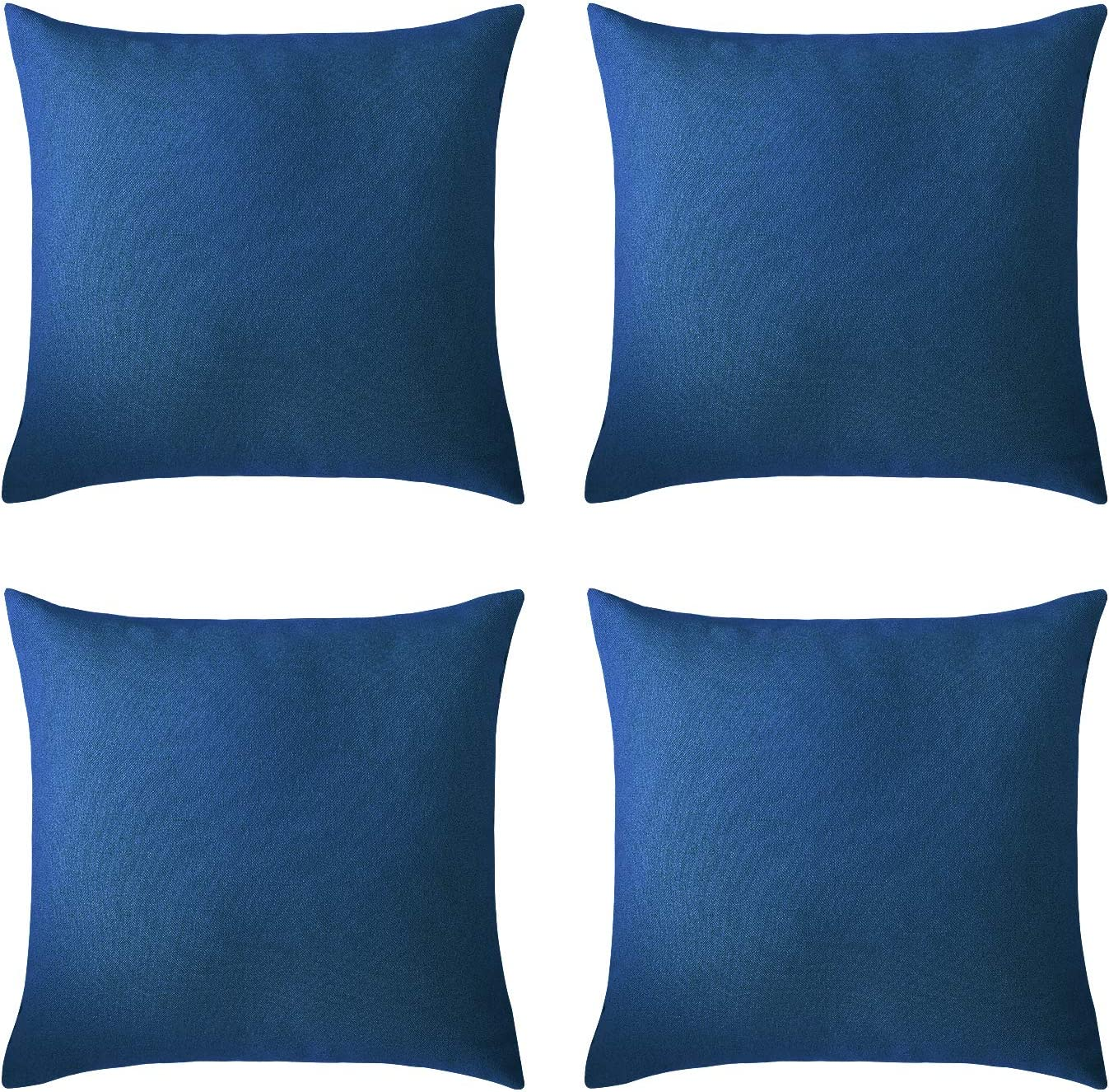 Deconovo Pillow Covers Faux Linen Cushion Cases Solid Pillowcases Covers for Living Room 24 x 24 Inch Federal Blue Set of 4 No Pillow Insert