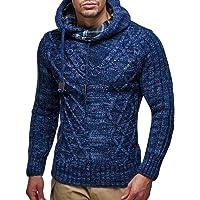 Leif Nelson LN10346 Trui met capuchon voor heren, gebreide trui, lange mouwen, sweater met stoppers