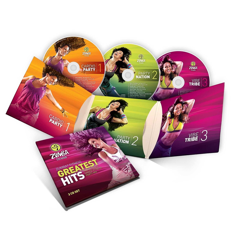 Zumba Fitness® Juego de 7 DVDs, 3 CDs y 2 mancuernas para entrenamiento de Zumba (en inglés y francés): Amazon.es: Deportes y aire libre