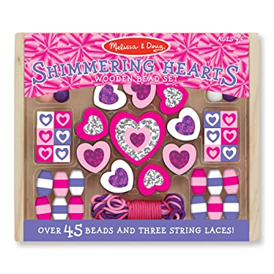 Melissa & Doug Shimmering Hearts Wooden Bead Set: Melissa & Doug: Toys & Games