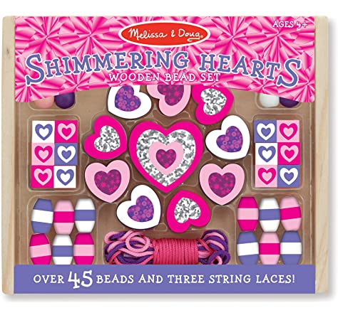 Melissa /& Doug Shimmering Hearts Sparkling Flowers Wooden Bed Set Kids Jewelry