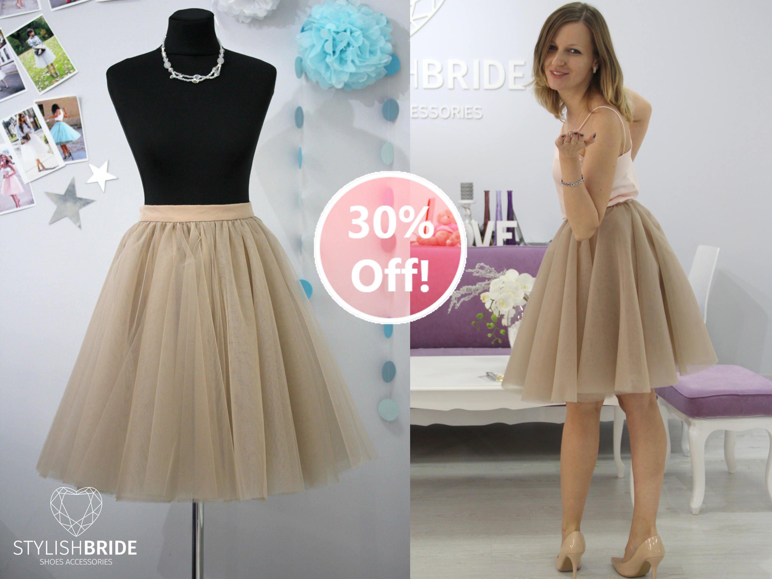 173 Sun Flared Women Taupe Super Lush Tulle Skirt, Tulle Skirt Bridal, Women Tulle Skirt, Princess Skirt, Wedding Tulle Skirt Silk Lining