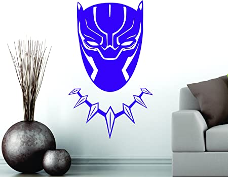 Small 30 cm x 18 cm blanc Black Panther Wakanda King T/ête Masque Superhero enfants Cadeau D/écor Art Sticker mural en vinyle de d/écoration de voiture autocollant
