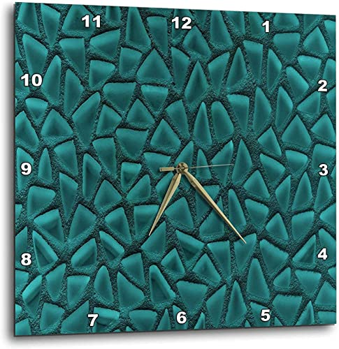 3dRose DPP_124753_3 Teal Triangle Glass Mosaic Look One Dimensional Design Wall Clock, 15 by 15-Inch