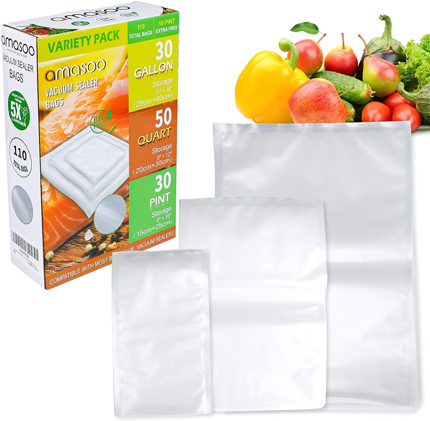 110 COUNT (30-Pint 6''x10'', 50-Quart 8''x12'', 30-Gallon 11''x16'') - AMASOO Vacuum Sealer Bags for Food, Precut Food Saver Bags with Food labels, BPA-Free, Heavy Duty, Compatible for Foodsaver, Seal a Meal, All Vacuum Sealer Machine, Freezer Vac storage / Sous Vide