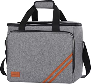Hanic 30 Liter Large Cooler Bag,Insulated and Leakproof Soft Cooler Collapsible Soft-Sided Coolers with Velcro Flap for Camping, Picnic,Beach, Family Outdoor Activities (Grey)
