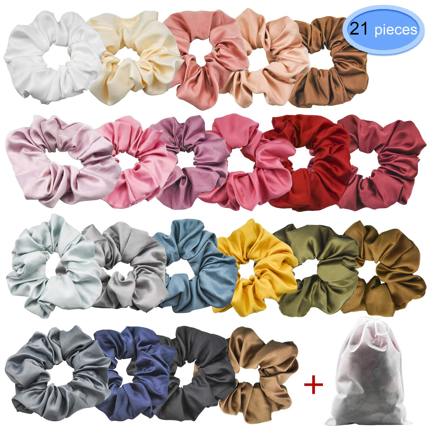 EAONE 21 Colors Hair Scrunchies Satin Elastic Ties Hair Bands Scrunchy Vintage Ponytail Holder Headbands for Women Girls, 21 Pieces