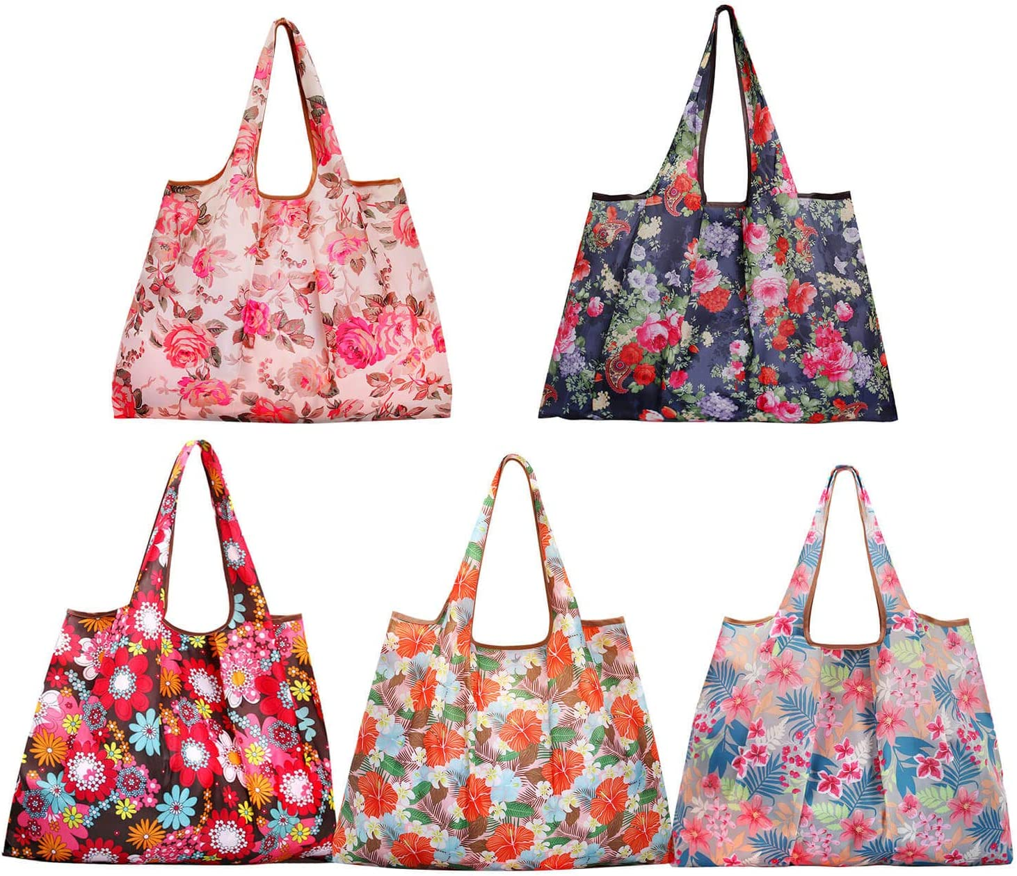 Reusable Shopping Bags,5 Pack Eco Friendly Large Floral Tote Bag Foldable into Attached Pouch Heavy Duty Nylon Groceries Bag Fits in Pocket