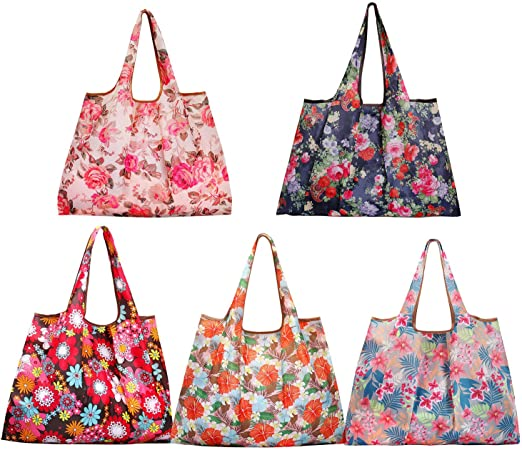 Mother/'s Day Floral Basket Printed Eco Friendly Tote Shopping Bag Long Handles