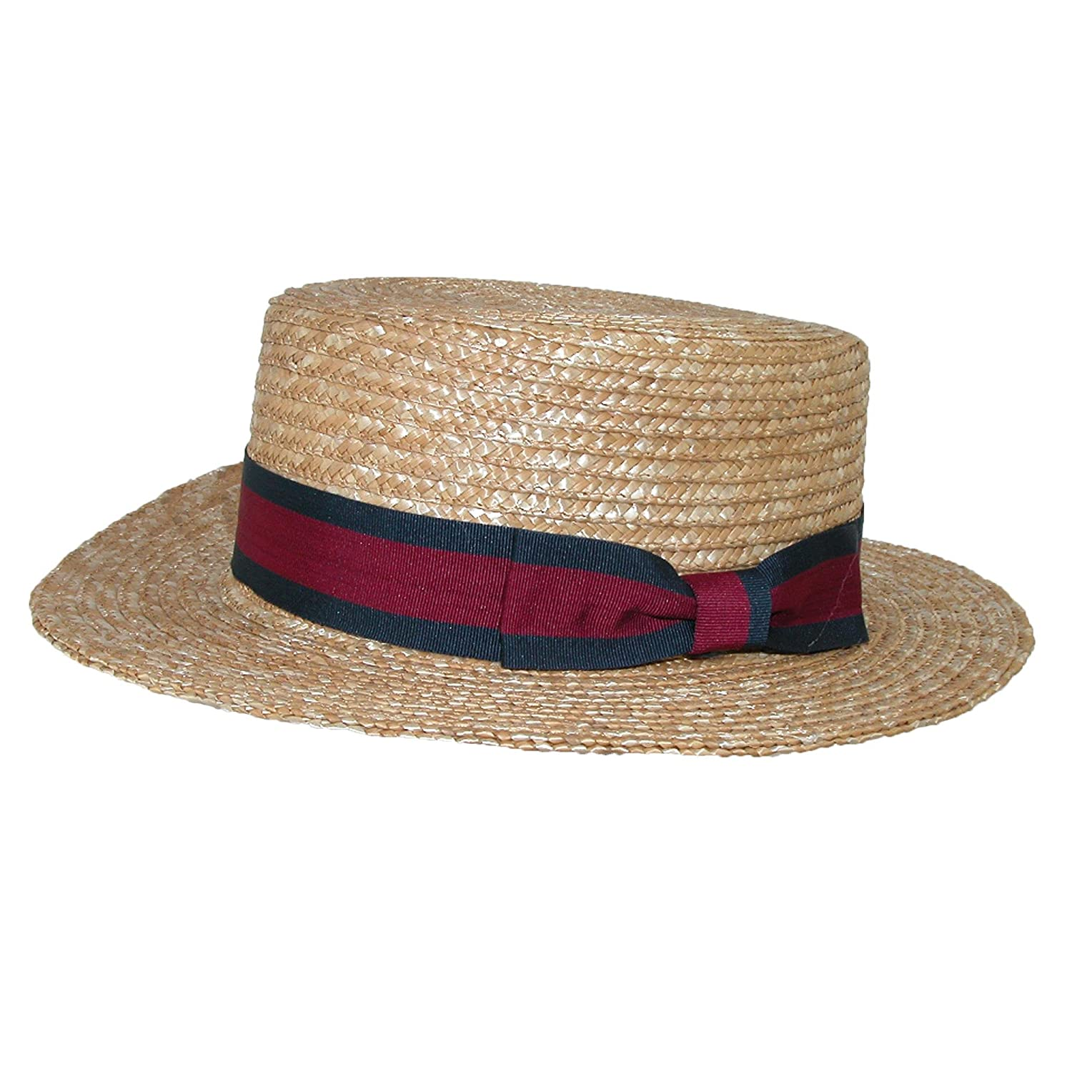 Men's Vintage Style Hats CTM Straw 2.5 Inch Brim Boater Hat with Navy Band $27.94 AT vintagedancer.com