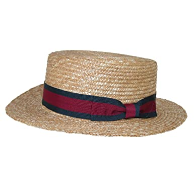 dadce83357e CTM Straw 2.5 Inch Brim Boater Hat with Navy Band at Amazon Men s ...