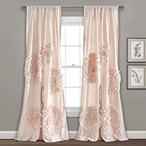 "Lush Decor, Blush Serena Drape | Window Panel for Living, Dining Room, Bedroom (Single Curtain), 84"" x 54 L"