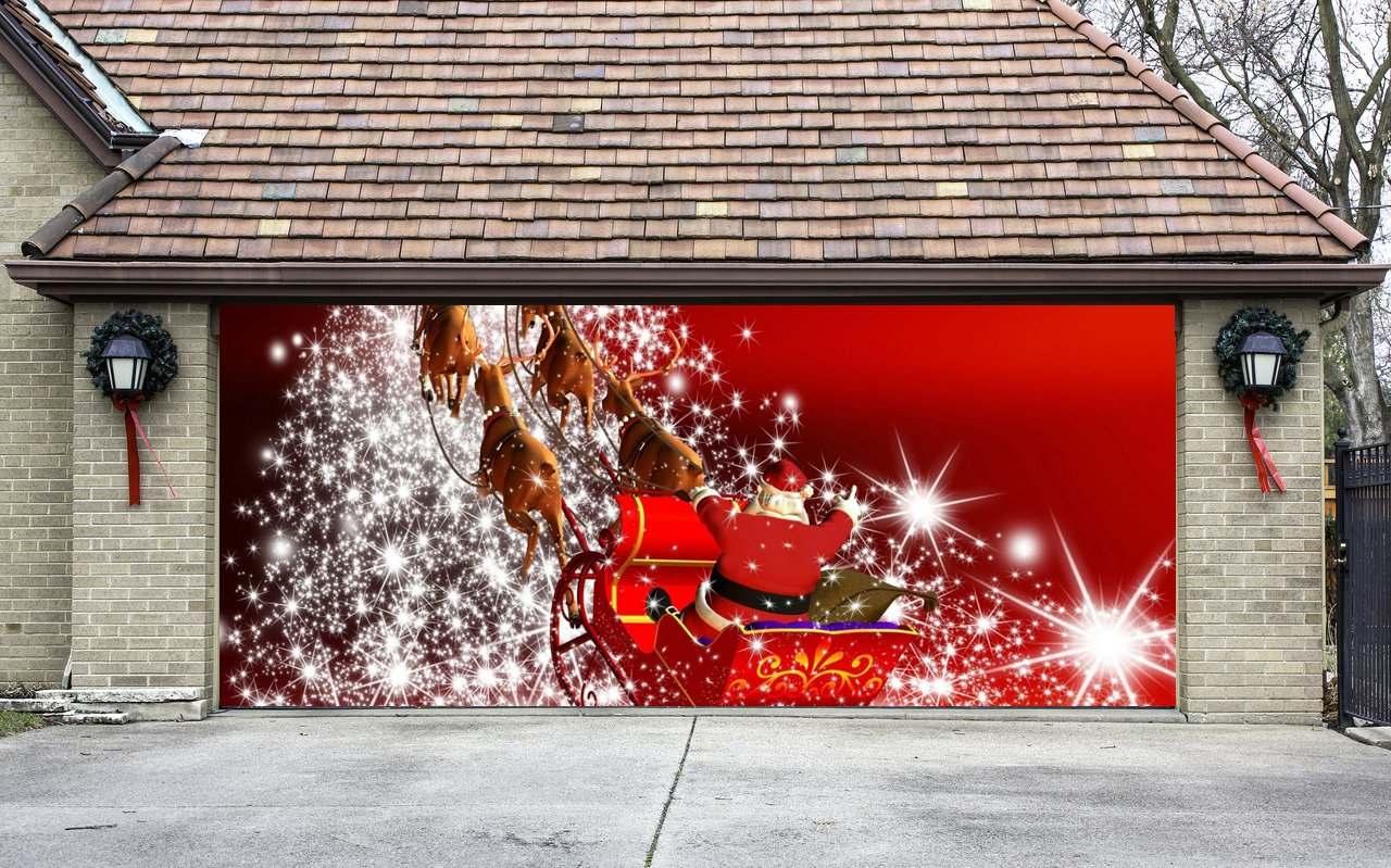 Christmas Garage Door Cover Banners 3d Santa In A Sleigh Holiday Outside Decorations Outdoor Decor for Garage Door G29
