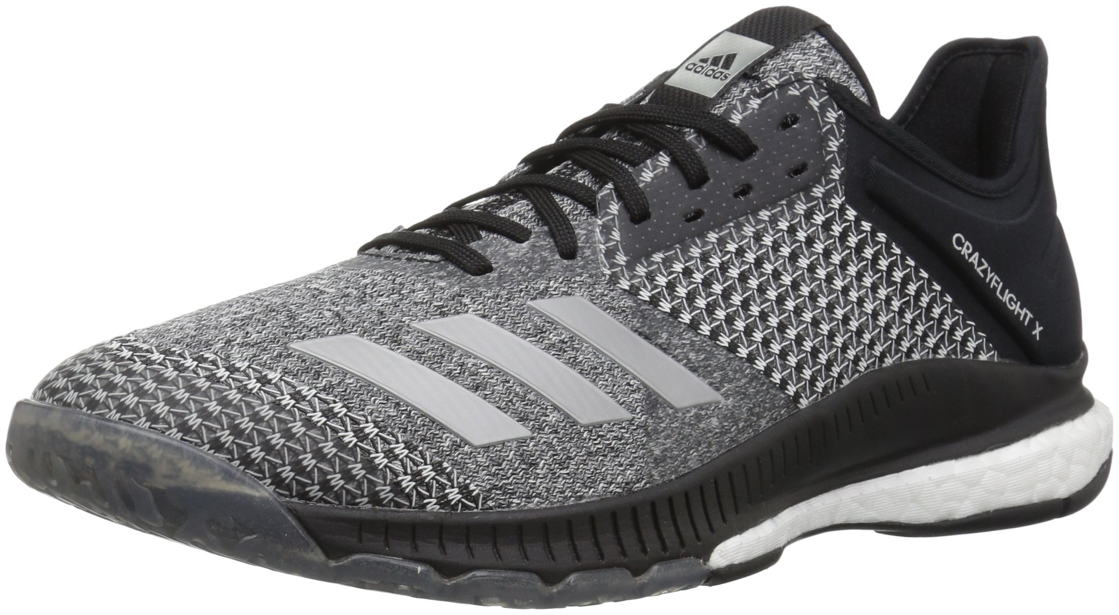 adidas Women's Crazyflight X 2 Volleyball Shoe, Black/Silver Metallic/White, 5 M US