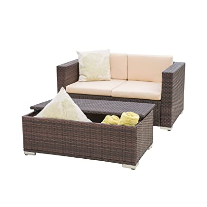 Remarkable Great Deal Furniture 295866 Westlake Outdoor Brown Pe Wicker Loveseat Ottoman Set Machost Co Dining Chair Design Ideas Machostcouk