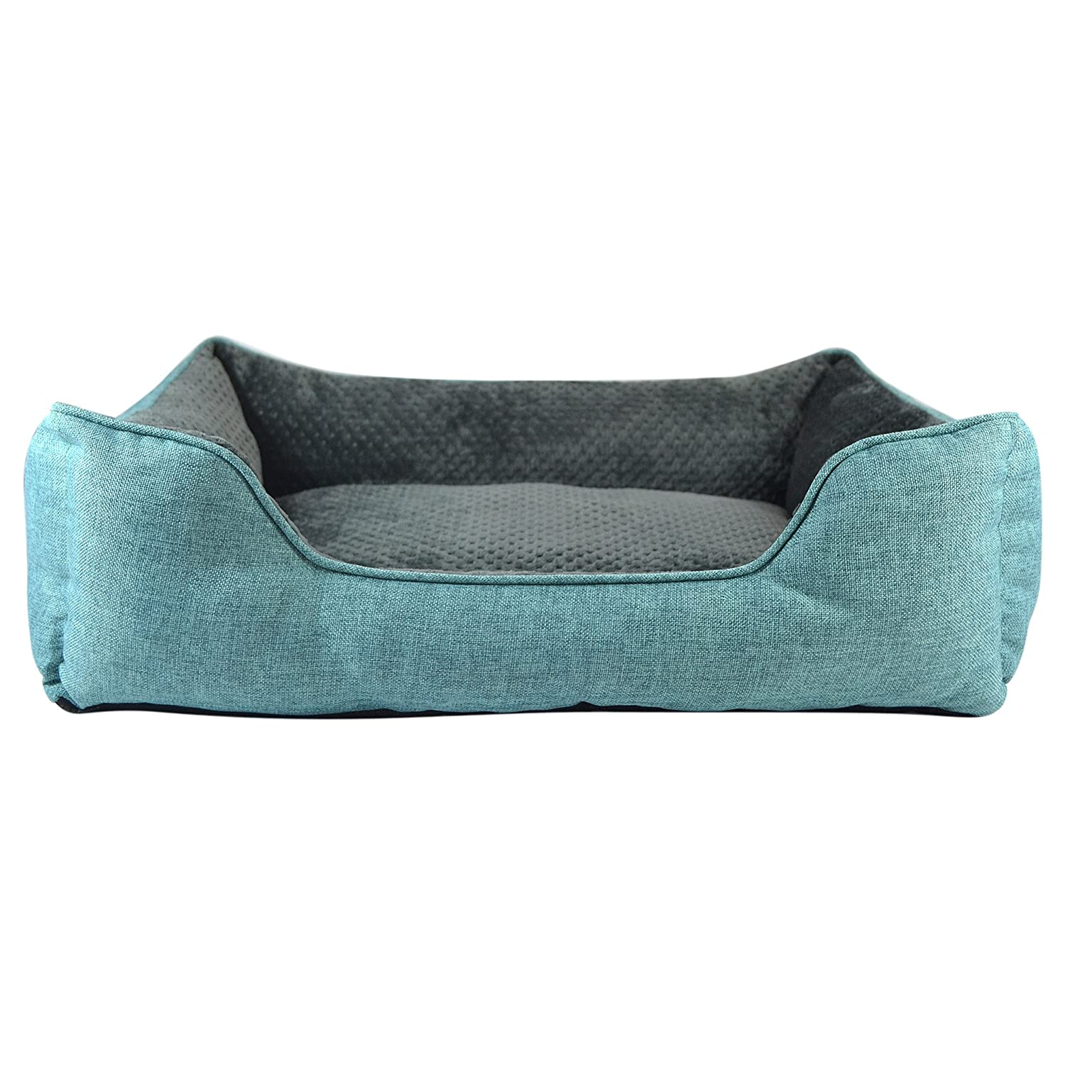 Premium Linen Pet Bed By Cozy Cuddlerz – Ultra Soft Plush Pillow Interior – Luxurious Style Elegant Design-Suitable For Cats Dogs-2 Available Sizes Colors Light Gray Blue