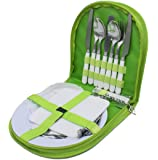 Top Quality Portable Kitchen,Travel, Picnic and Camping Cutlery Set - 2 person camping dinnerware with Napkin, Plates, Wine Bottle Opener and Cutting Board