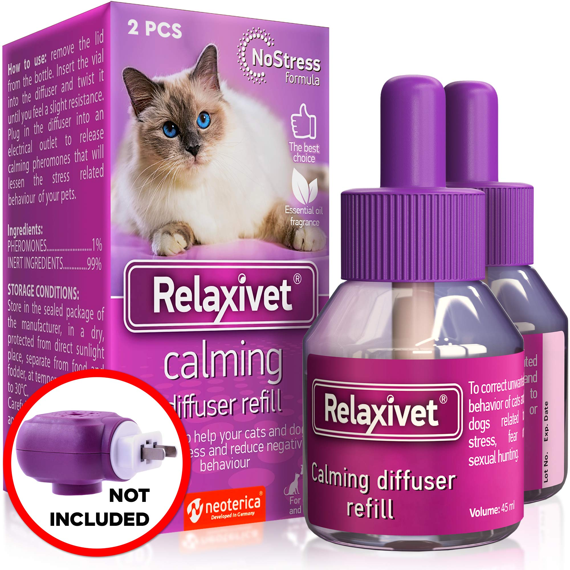 Relaxivet Natural Cat Calming Diffuser Refill - Improved No-Stress Formula - Anti-Anxiety Treatment #1 for Cats and Dogs with a Long-Lasting Calming Effect by Relaxivet