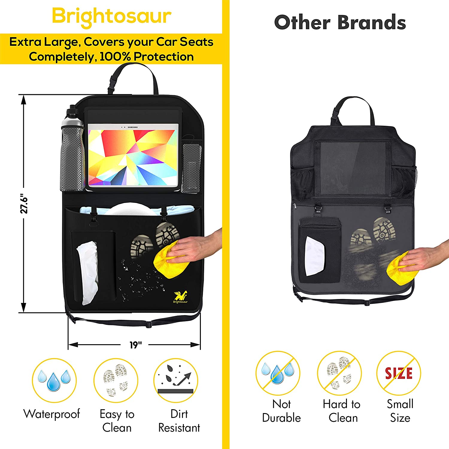 Kick Mats Back Seat Protector Backseat Car Organizer 2 Pack XL Premium with Tablet Holder 12,Garbage Can,Tissue Holder by Brightosaur Car Seat Protector Kids Back Seat Organizer Car Seat Organizer