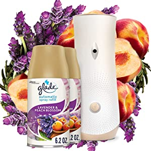 Glade Automatic Spray Refill and Holder Kit, Air Freshener for Home and Bathroom, Lavender & Peach Blossom, 6.2 Oz, 2 Count