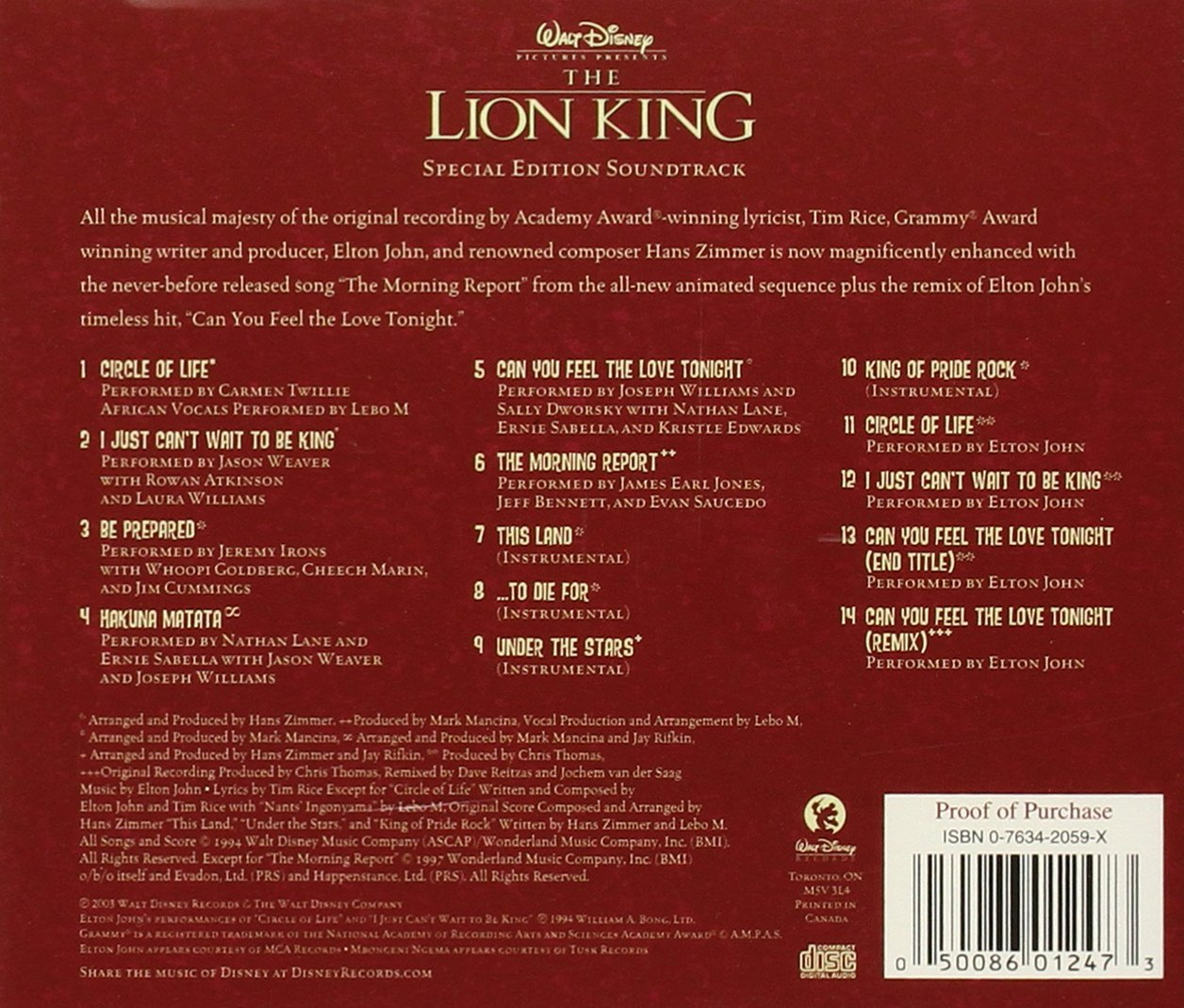 hans zimmer various artists the lion king special edition