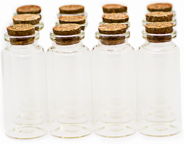 RUBY - 25 Botellas de deseo 30mm x 70mm (35 ml Aprox), mini botellas de cristal con tapones de corcho, mensaje, deseo de fiesta, botellitas de bodas/para arte y manualidades decorativas (25 unids.)