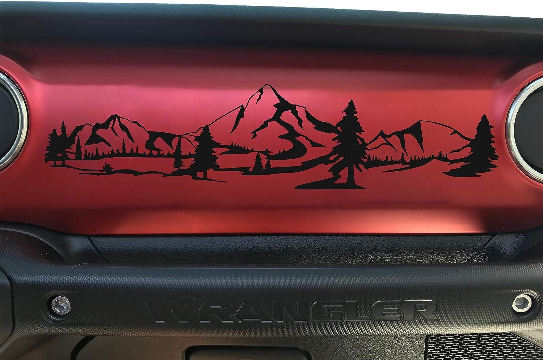 Dashboard Glove Box Mountain Scene Vinyl Decal Sticker Compatible with Wrangler and Gladiator Bogar Tech Designs Matte White