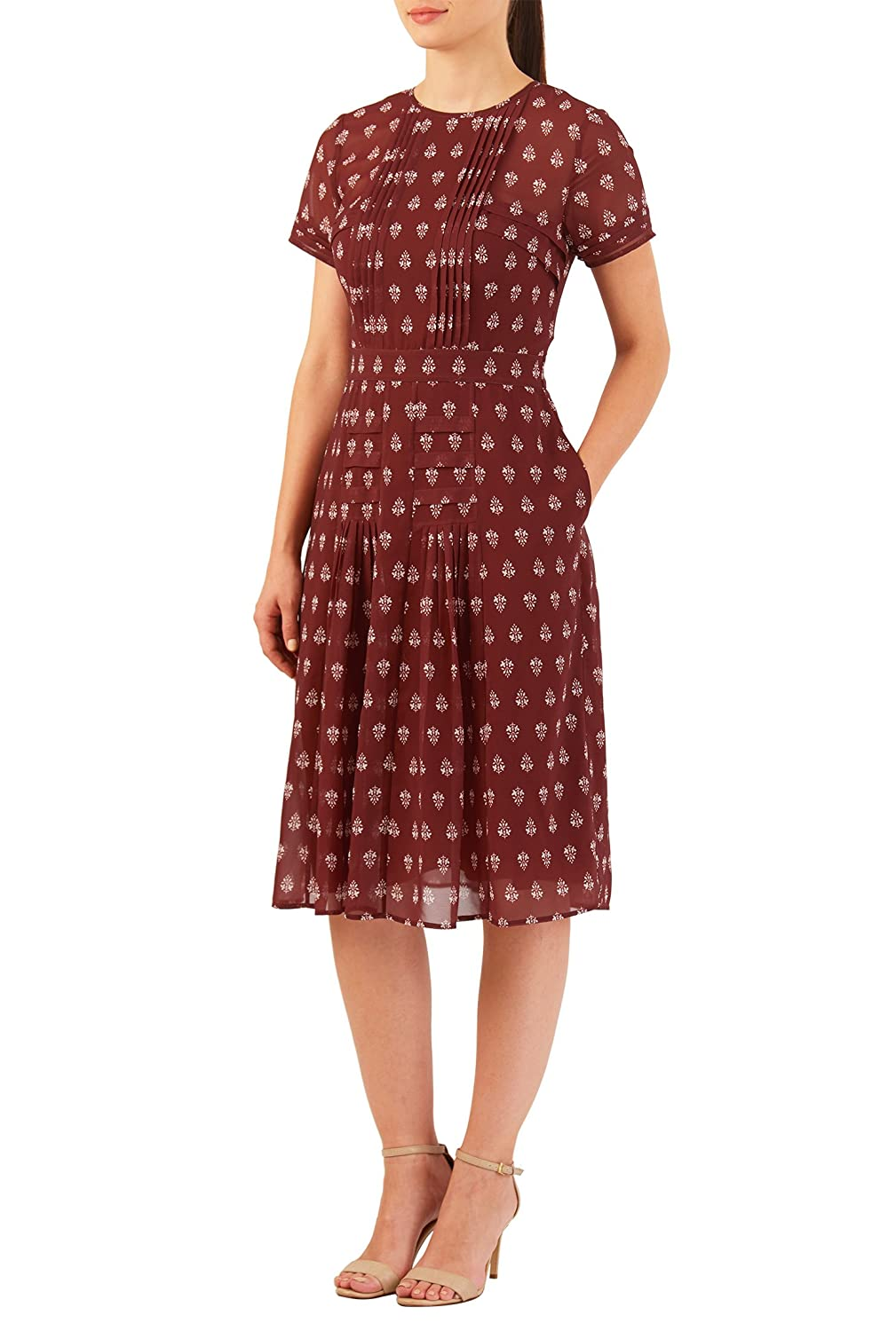 Plus Size Retro Dresses eShakti Womens Pleated tile print georgette A-line dress $62.95 AT vintagedancer.com