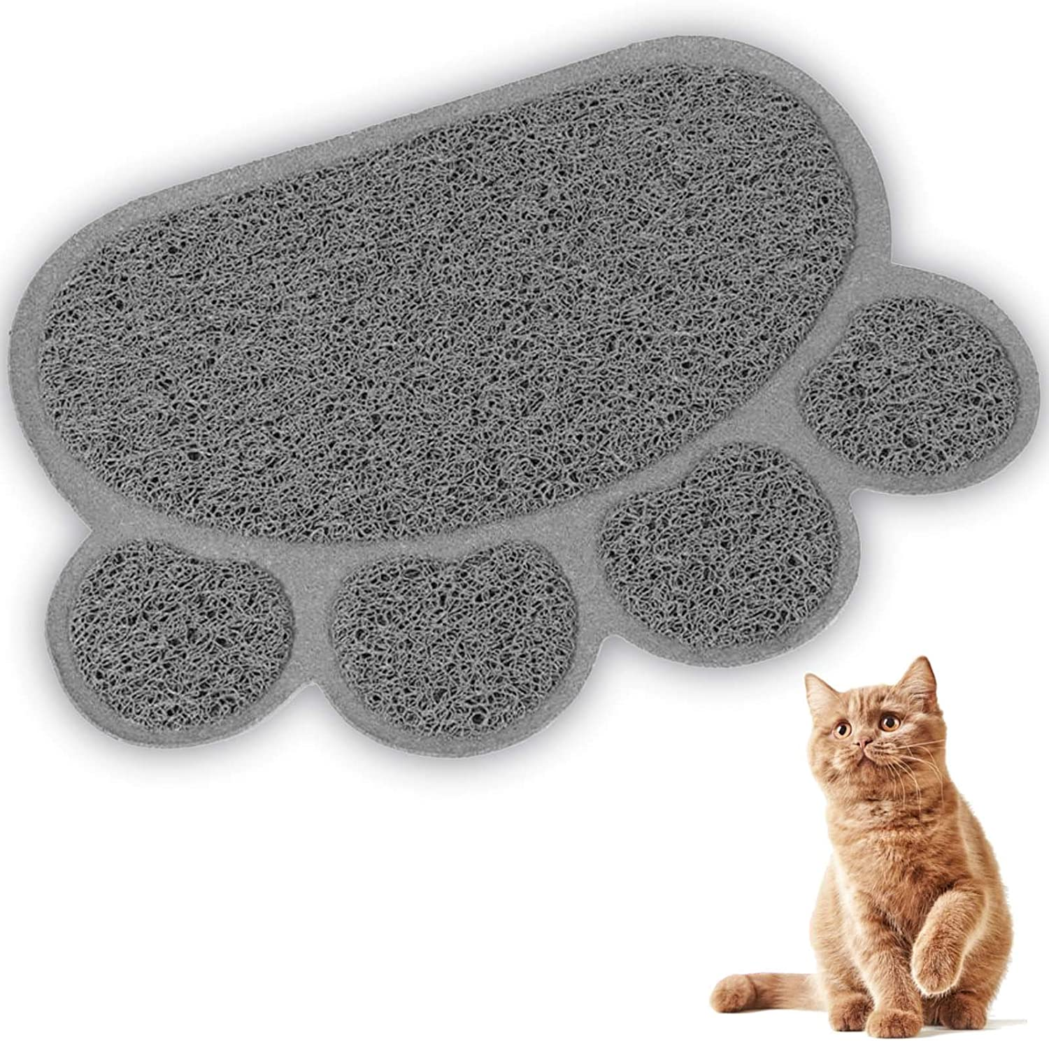 Cat Litter Mat, Pet Litter Rugs, Small Dogs and Rabbits, Paw-Shaped Feeding Mat Trapping Pad Scatter Control Water Resistant Soft on Kitty Paws Easy to Clean 40x30cm