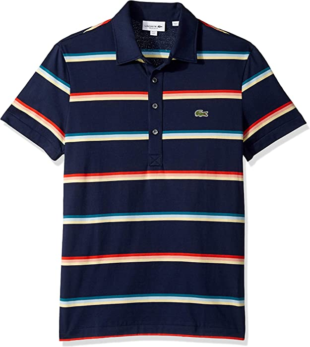f61715a27a09 Lacoste Men s S S Striped Light Jersey PIMA Cotton Polo Regular FIT ...