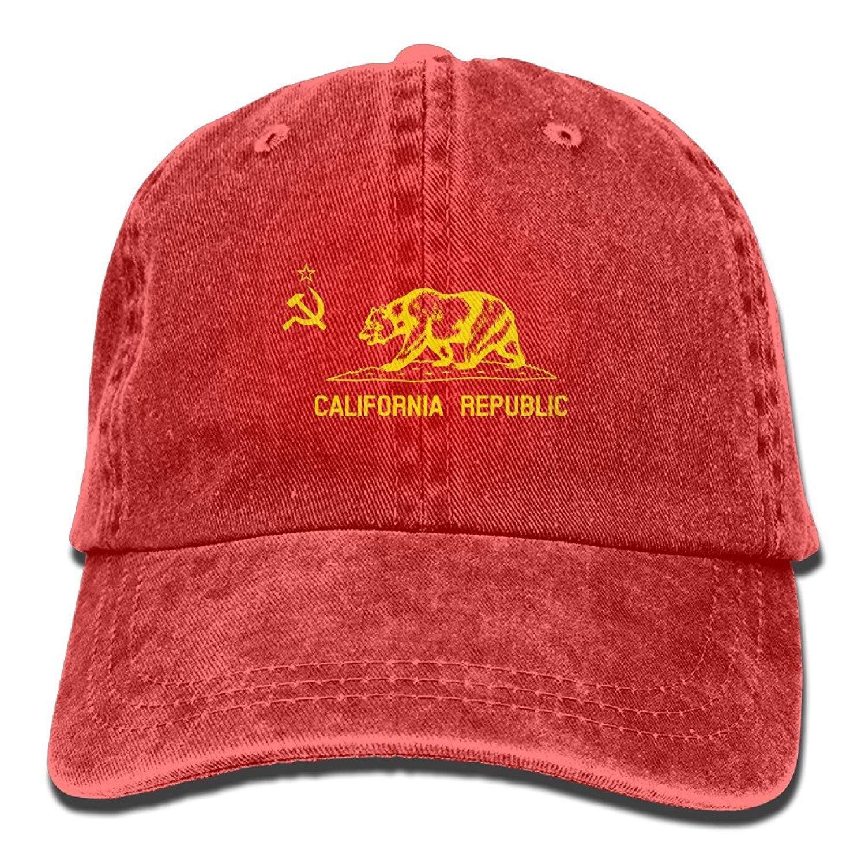 JTRVW Cowboy Hats Flag of Communist California Republic Cotton Adjustable Cowboy Hat Trucker Cap Forman and Woman