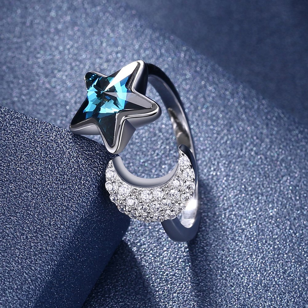 BEAUTY CHARM 925 Sterling Silver Crystal Moon Star Open Ring for Women Girls