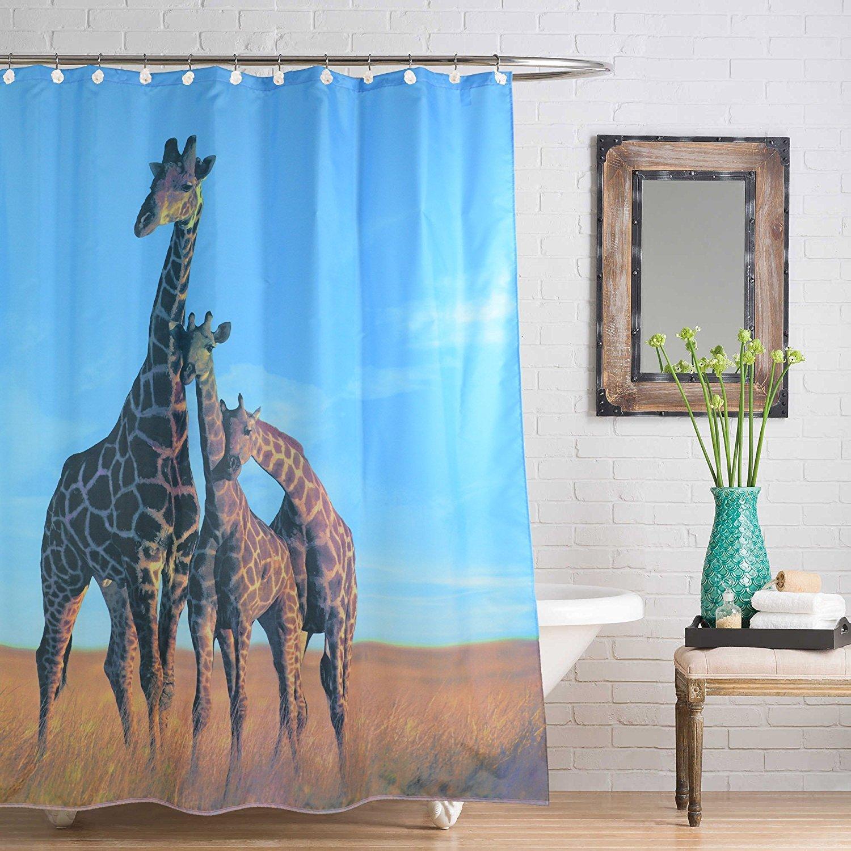 Get Orange giraffe grassland landscape shower curtain Bathroom Window Hangings Drapes Living Room Bedroom Curtain-72inch-12 Metal Roller Hooks (1, giraffe)