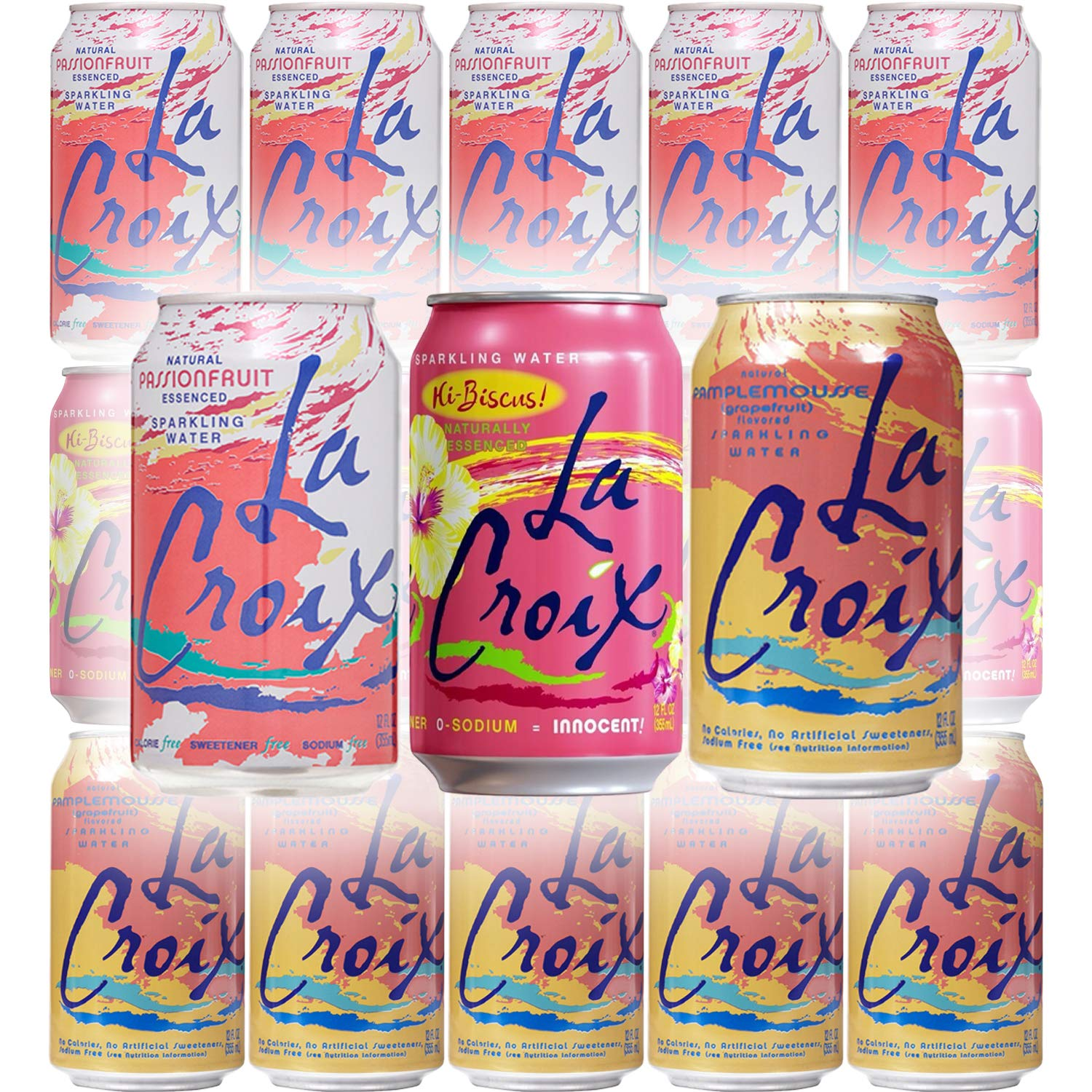 La Croix Grapefruit, Hibiscus, Passionfruit Naturally Essenced Flavored Sparkling Water - Variety Pack, 12 oz Can (Pack of 15, Total of 180 Oz) by La Croix