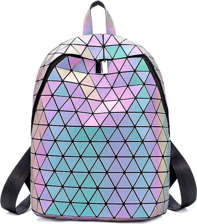 HotOne Luminous Geometric Purse and handbag Holographic Reflective Backpacks Fas
