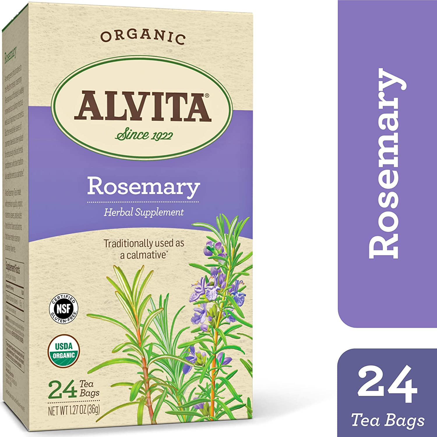 Alvita Organic Rosemary Herbal Tea - Made with Premium Quality Organic Rosemary, And DistinctFlavor and Culinary Aroma, 24 Tea Bags