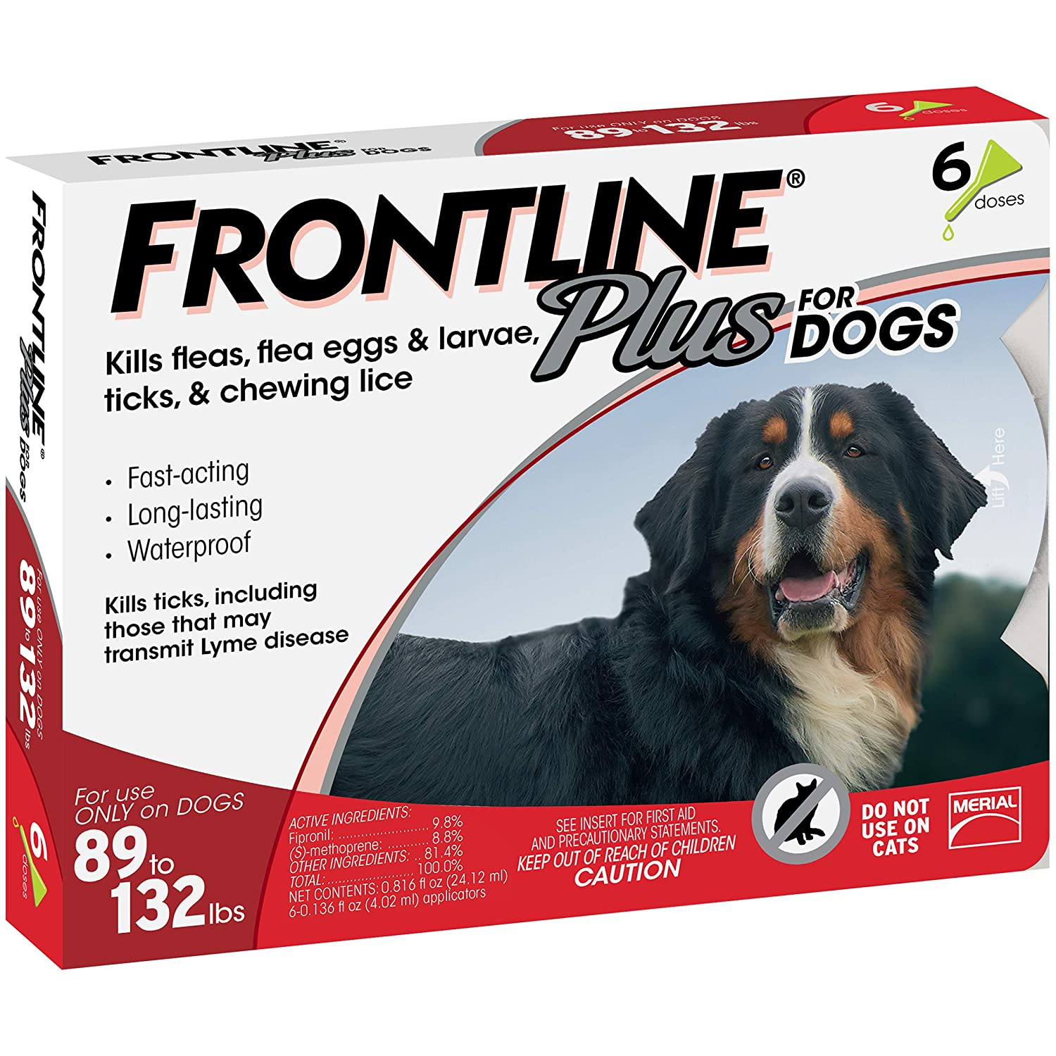 Frontline Plus for Extra Large Dogs (89 to 132 pounds) Flea and Tick  Treatment, 6 Doses