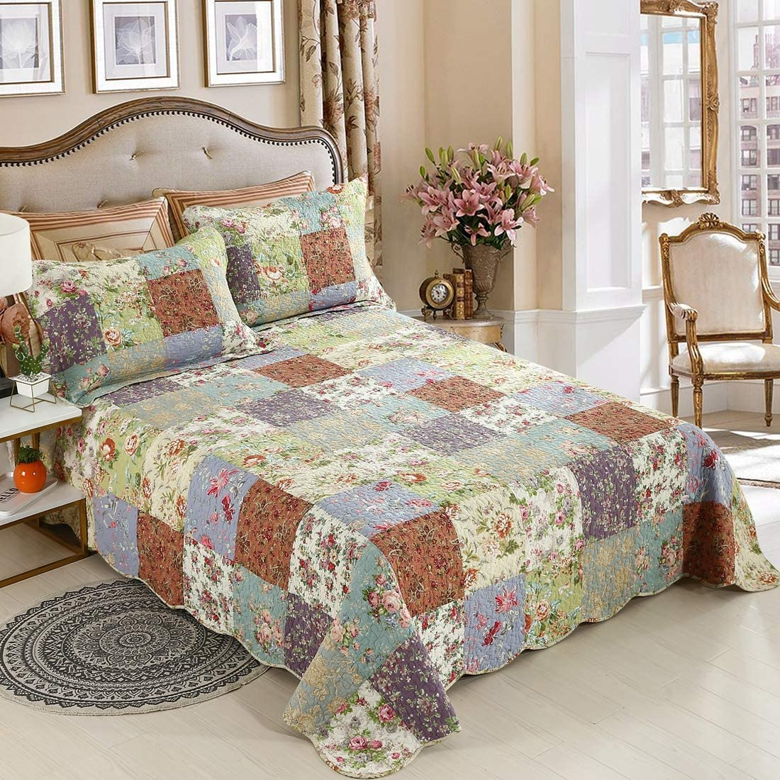 YAYIDAY Patchwork Cotton Bedspreads Set Quilt Coverlet Country Floral Printed - Lightweight Bedcover Summer Blanket Country Rustic Bedding (Patchwork Flower Queen)