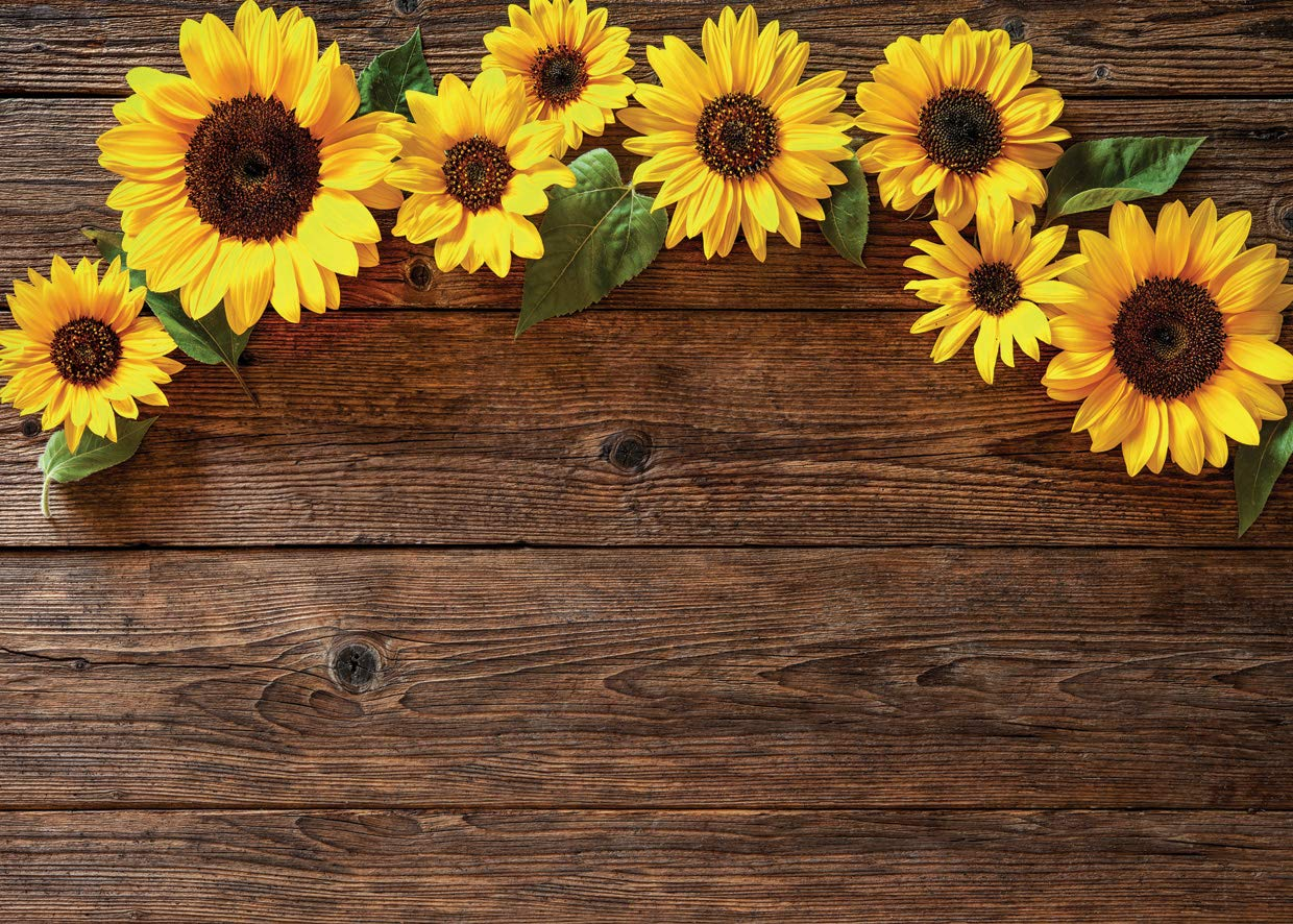 AIIKES 7x5FT Sunflower Brown Wood Backdrops for Photography Rustic Child Baby Shower Birthday Party Background Banner for Picture Photo Studio Photo Booth Decoration 11-544
