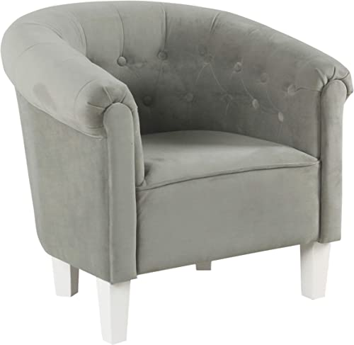 HomePop Youth Button Tufted Barrel Chair, Gray Velvet