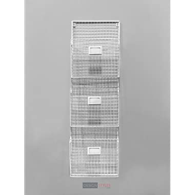 Designstyles Wall Hanging 3 Tier File Holder - Wall Mounted Metal Wire Magazine Rack - Office Folder Organizer with Name Tag Slot, White