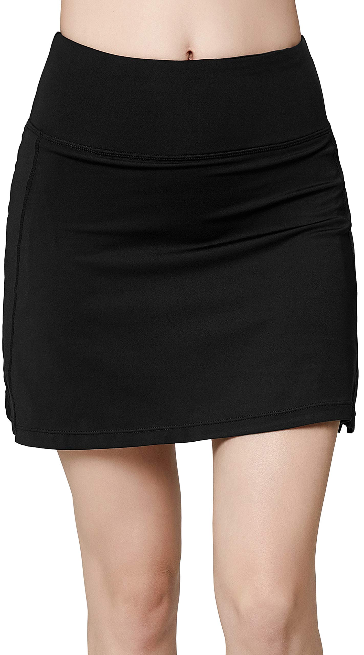 Women's Active Athletic Skirt Sports Golf Tennis Running Pockets Skort Black L by Oalka