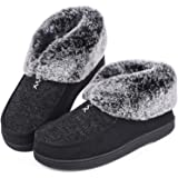 Women's Cozy Memory Foam Slippers Fluffy Wool Like Faux Fur Fleece Lined House Shoes with Non Skid Indoor Outdoor Sole