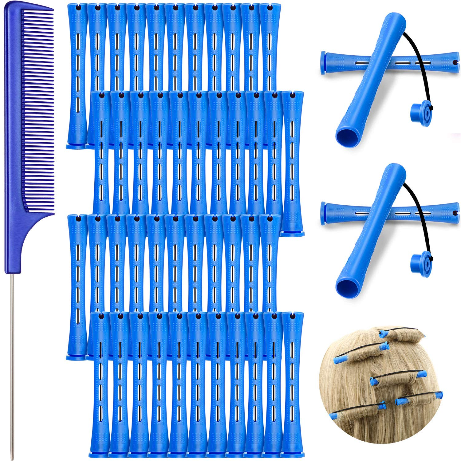 48 Pieces Hair Perm Rods Cold Wave Rods Plastic Perming Rods Curlers Hair Rollers with Steel Pintail Comb Rat Tail Comb for Hairdressing Styling Tools (Blue, 0.35 inch/ 0.9 cm)