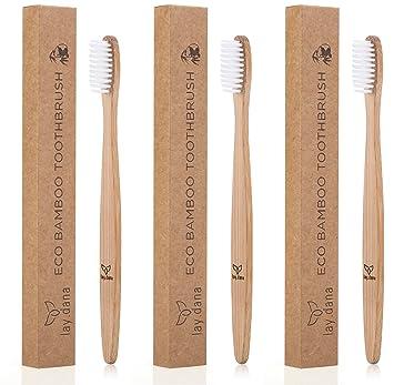 Cepillo de dientes de madera de bambú de lay.dana, libre de plástico y vegano (paquete ecológico): Amazon.es: Salud y cuidado personal