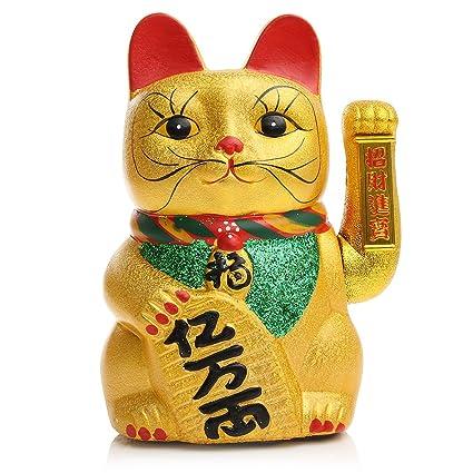 Jeteven Cerámica Suerte Gato Chino Maneki Neko Gato Feng Shui ...