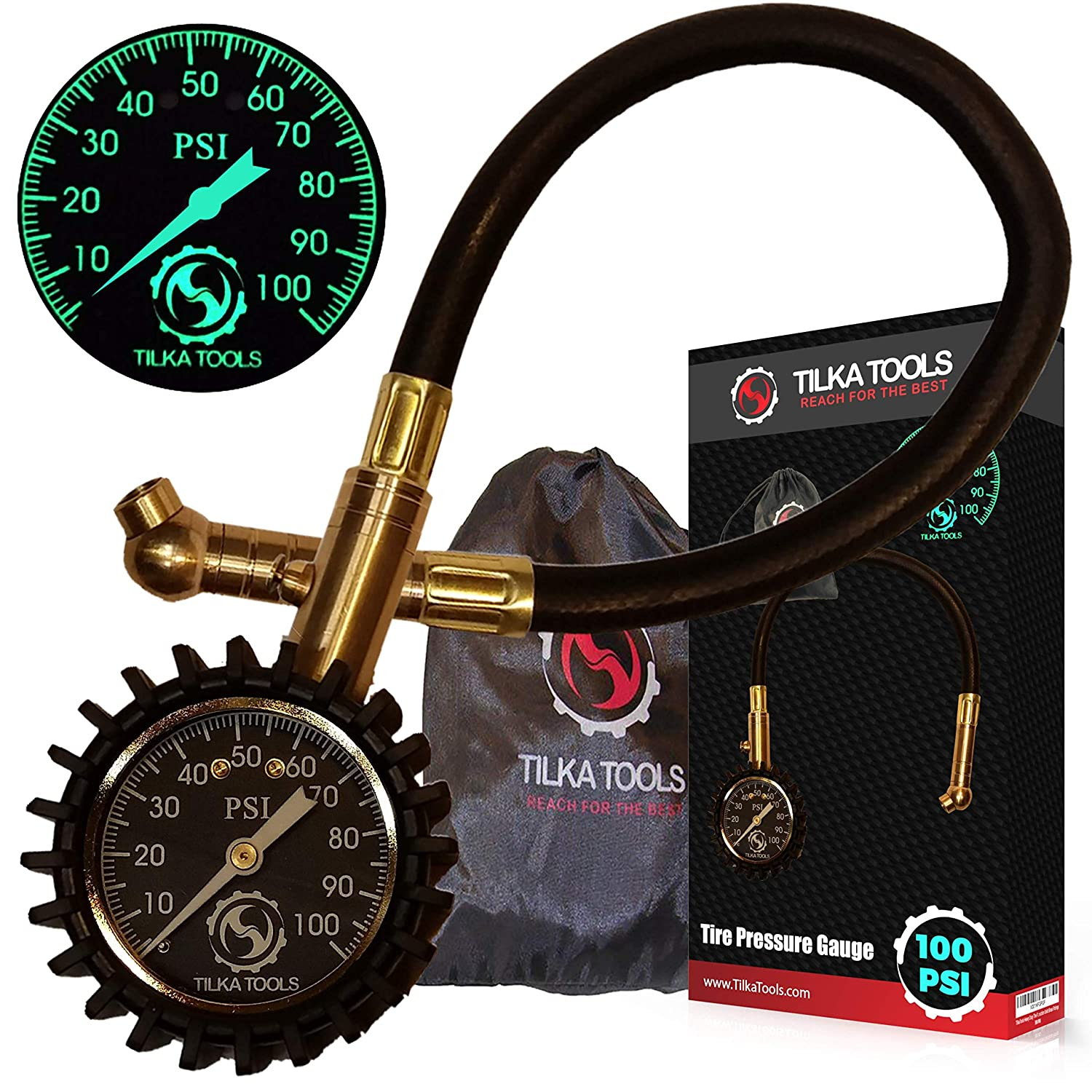 Tilka Tools Tire Pressure Gauge for Motorcycle Truck Car Bike (0-60) (0-75) (0-100 PSI) ANSI B40.1 Analog Dial Heavy Duty High Air Tester Best Gift Professional Commercial Rated SUV ATV TTTPG0075