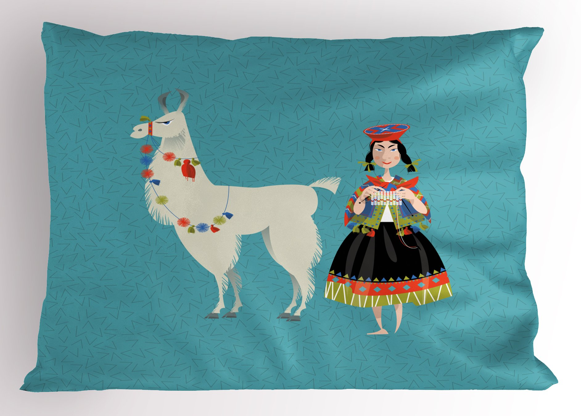 Ambesonne Llama Pillow Sham, Peruvian Woman Knitting with a White Alpaca Wrapped with Flower Colorful Illustration, Decorative Standard King Size Printed Pillowcase, 36 X 20 inches, Multicolor