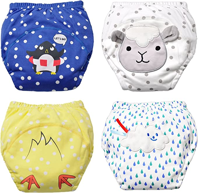 Training Pants for 1-3 Years/' Baby Adorable Animal Pattern Training Pants Flyish 4 Pcs Baby Potty Training Pants