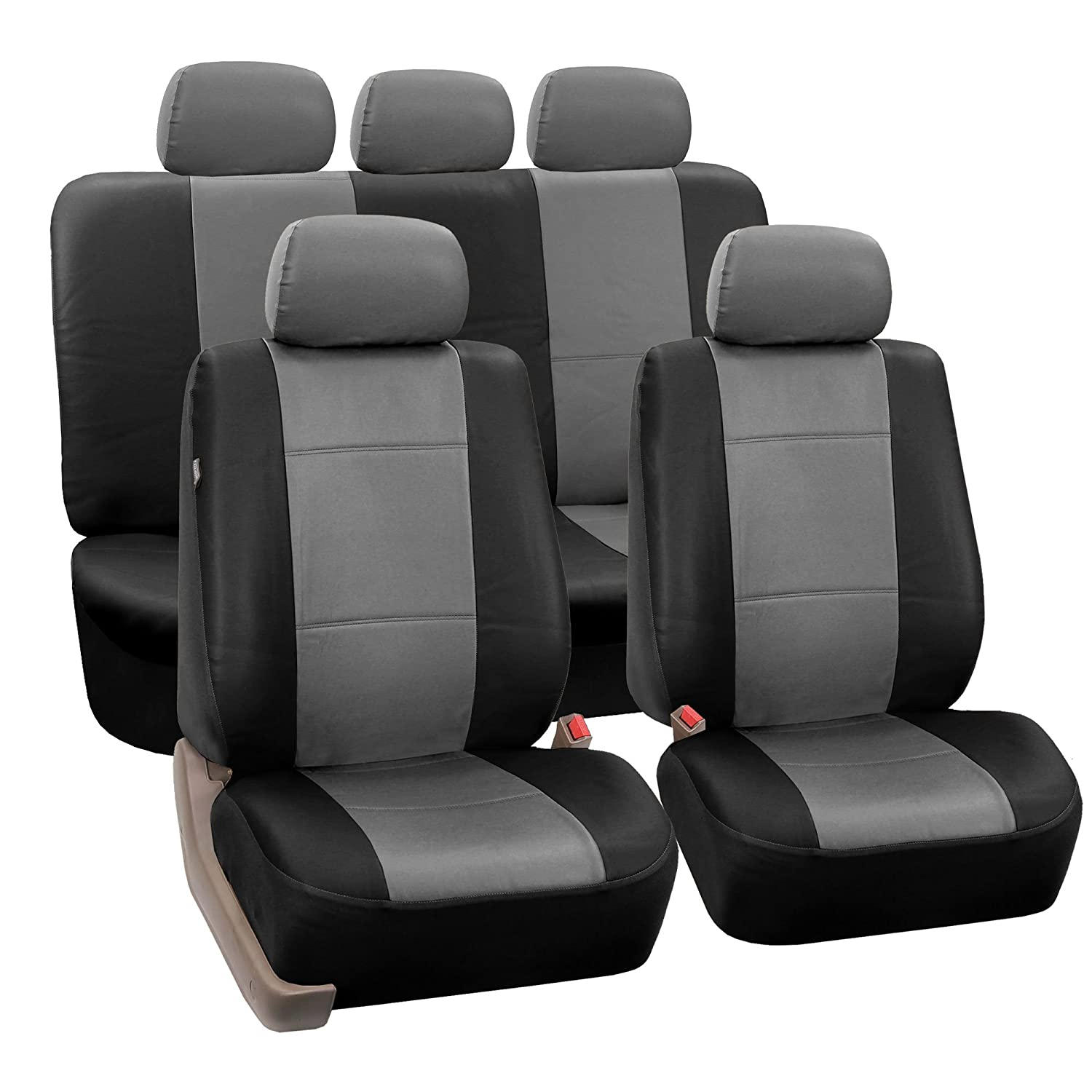 Fh Pu002115 Classic Pu Leather Car Seat Covers Airbag 99 Gmc Van Wiring Diagram Door Compatible And Split Bench Grey Black Color Automotive